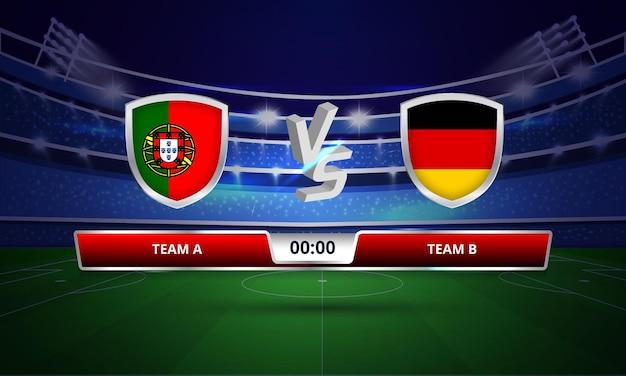Trasmissione del tabellone segnapunti della partita di calcio della coppa dell'euro portogallo