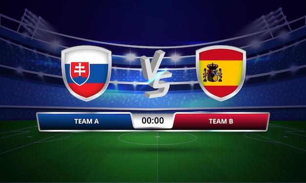 Trasmissione del tabellone segnapunti della partita di calcio della coppa europa slovacchia vs spagna