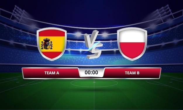 Trasmissione del tabellone segnapunti della partita di calcio della coppa europa spagna vs polonia