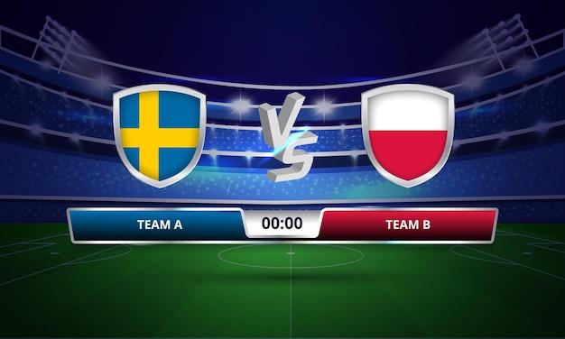 Trasmissione del tabellone segnapunti della partita di calcio della coppa euro svezia vs polonia