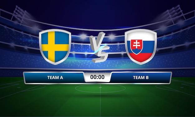 Trasmissione del tabellone segnapunti della partita di calcio della coppa europa svezia vs slovacchia
