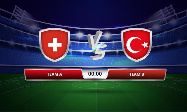 Trasmissione del tabellone segnapunti della partita di calcio della coppa europea svizzera contro la turchia