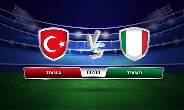 Tabellone completo della partita di calcio della coppa europa turchia vs italia