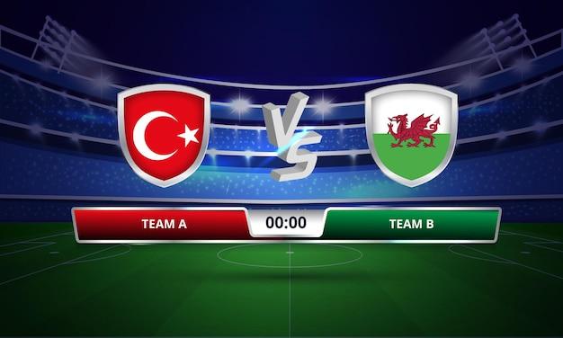 Trasmissione del tabellone segnapunti della partita di calcio della coppa europa turchia vs galles