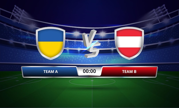 Trasmissione del tabellone segnapunti della partita di calcio dell'euro cup ucraina vs austria