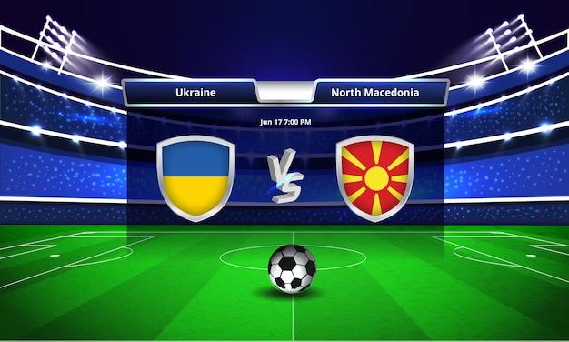 Trasmissione del tabellone segnapunti della partita di calcio della coppa euro ucraina vs macedonia del nord