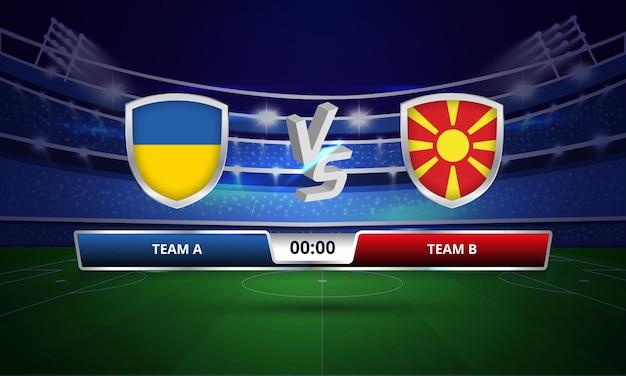 Trasmissione del tabellone segnapunti della partita di calcio della coppa europa ucraina vs macedonia del nord