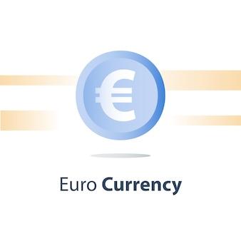Moneta in euro, prestito in contanti, cambio di denaro, concetto di finanza, icona