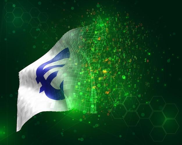 Bandiera 3d di vettore di valuta euro su sfondo verde con poligoni e numeri di dati
