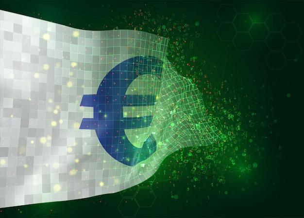 Valuta euro su bandiera vettoriale 3d su sfondo verde con poligoni e numeri di dati