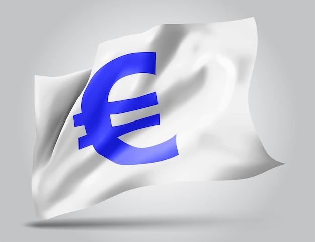 Valuta euro su bandiera 3d vettoriale isolato su sfondo bianco