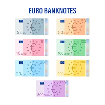Banconote in euro. euro piatto per carta moneta. concetto di affari. illustrazione di riserva.