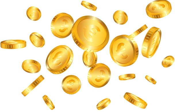 Euro esplosione di monete d'oro realistico isolata