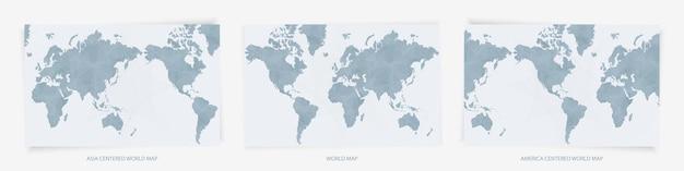 Mappe del mondo centrate su europa, asia e america. tre versioni di mappe del mondo blu.