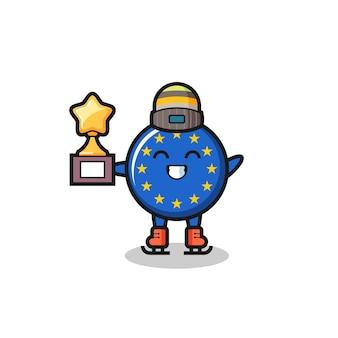 Il fumetto del distintivo della bandiera dell'europa come un giocatore di pattinaggio sul ghiaccio tiene il trofeo del vincitore, un design in stile carino per maglietta, adesivo, elemento logo