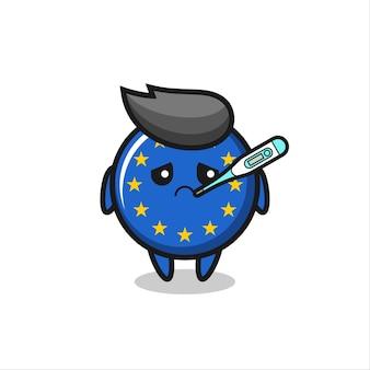 Carattere della mascotte del distintivo della bandiera dell'europa con condizione di febbre, design in stile carino per maglietta, adesivo, elemento logo