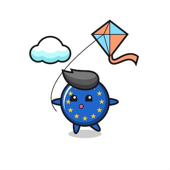 L'illustrazione della mascotte del distintivo della bandiera dell'europa sta giocando a un aquilone, un design in stile carino per maglietta, adesivo, elemento logo