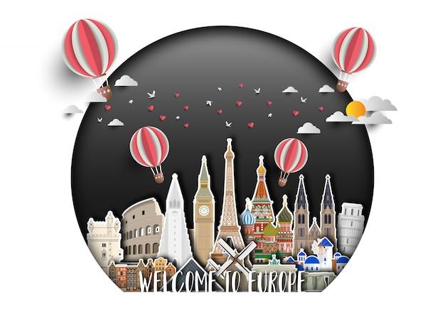 Fondo globale della carta di viaggio e di viaggio del punto di riferimento di europa.