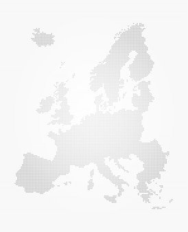 Stile del punto mappa europa su sfondo grigio sfumato