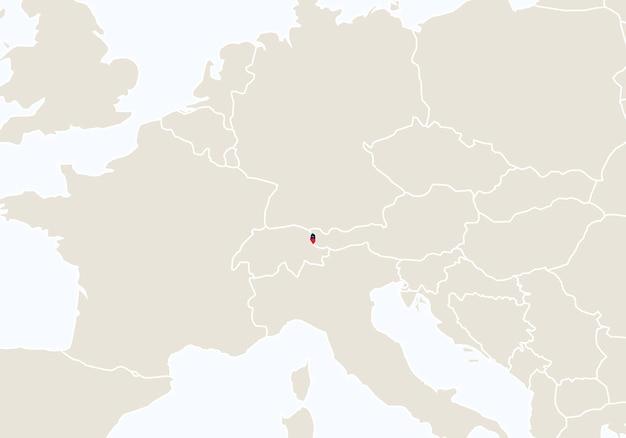 Europa con mappa del liechtenstein evidenziata. illustrazione di vettore.