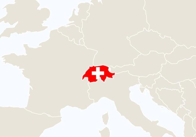 Europa con mappa della svizzera evidenziata. illustrazione di vettore.