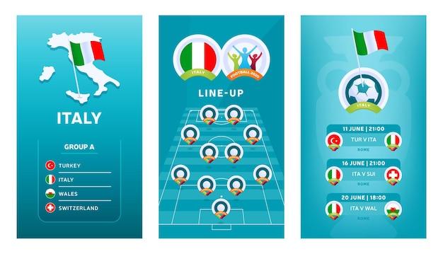 Banner verticale di calcio europeo 2020 impostato per i social media