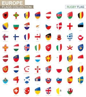 Collezione di bandiere dei paesi europei. insieme della bandiera di rugby. illustrazione di vettore.