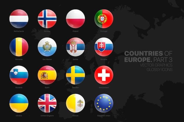 Icone rotonde lucide delle bandiere dei paesi europei messe isolate sul nero