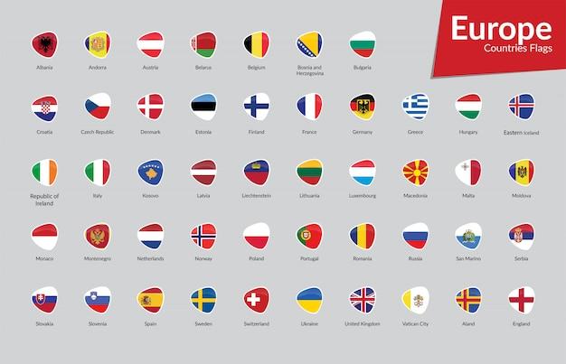 Raccolta di icone di bandiere di paesi europei