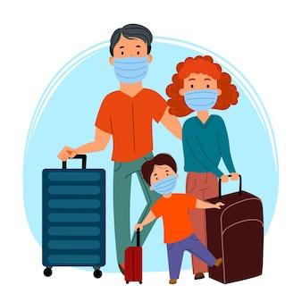 Famiglia europea di turisti, un uomo, una donna e un bambino, che indossano maschere e portano valigie. prevenzione del coronavirus, covid-19. viaggi e turismo durante la pandemia. illustrazione vettoriale piatto.