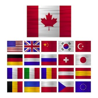 Bandiere europee raccolta di bandiere realistiche nel design del punto mappa. prodotto in europa. illustrazione vettoriale.