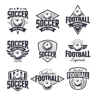 Insieme di vettore di emblemi classici del calcio europeo.