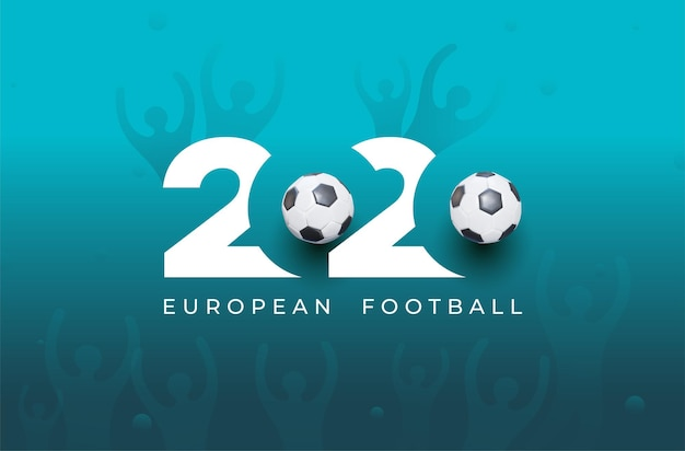 Logo della coppa europea di calcio 2020. design grafico realistico della palla e della coppa della vittoria