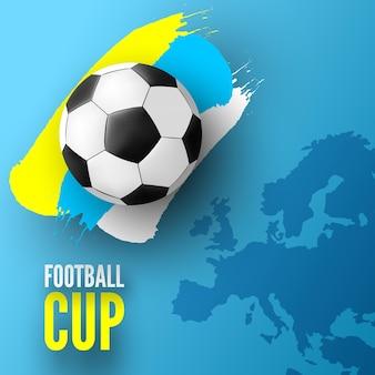 Torneo di calcio europeo con pallone da calcio e tratto di vernice colorata
