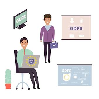 Regolamento generale europeo sulla protezione dei dati. concetto gdpr con carattere. regole generali e idee di protezione e controllo dei dati personali. illustrazione vettoriale.