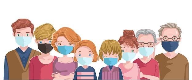 La famiglia delle maschere europee previene l'inquinamento e covid