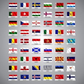 Nazioni europee e bandiere di paesi
