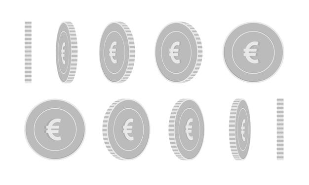 Set di monete rotanti euro unione europea, animazione pronta. rotazione monete d'argento eur in bianco e nero.