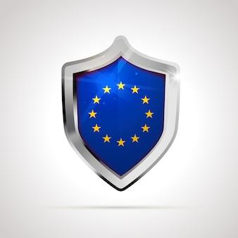 Bandiera dell'unione europea proiettata come uno scudo lucido