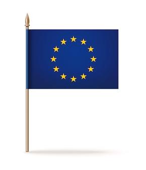 Bandiera dell'unione europea sul palo di legno su bianco