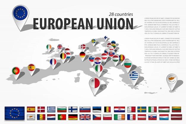 Pin di posizione dell'unione europea e navigatore gps