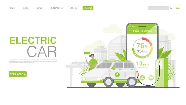 Auto ev o auto elettrica alla stazione di ricarica pagina di destinazione