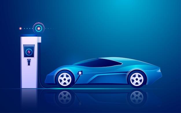 Stazione di ricarica ev con veicolo elettrico nelle industrie tecnologiche moderne