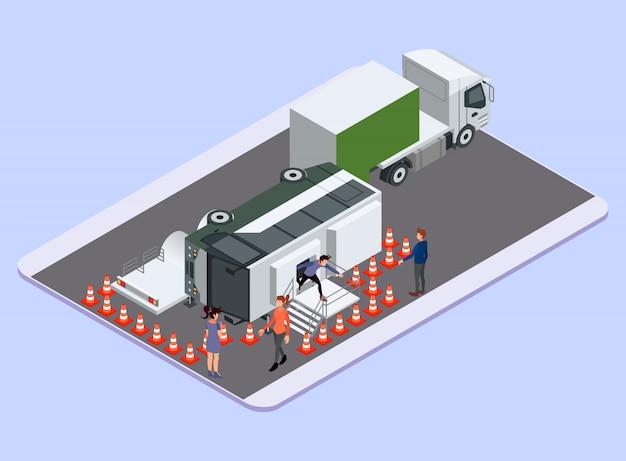 Processo di evacuazione dell'incidente in autobus trasportandolo sul camion rimorchio - illustrazione isometrica