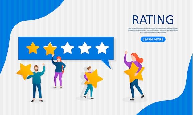Illustrazione di valutazione delle recensioni dei clienti