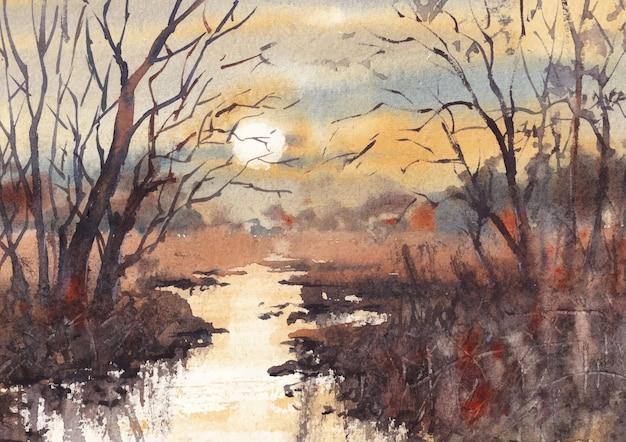 Pittura ad acquerello di natura serale