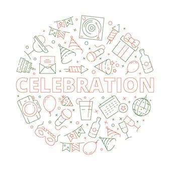 Simboli della celebrazione di compleanno di evento nel modello di vettore delle stelle delle torte dei palloni dei fuochi d'artificio di forma del cerchio