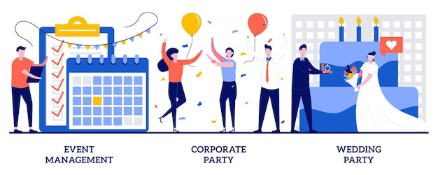 Gestione di eventi, concetto di festa aziendale e di matrimonio con persone minuscole. set di servizi di intrattenimento. organizzatore di riunioni, servizio di pianificazione, team building, metafora della celebrazione.