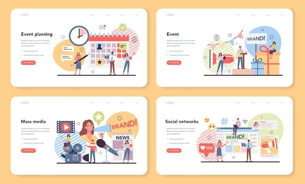 Banner web per la gestione degli eventi o set di pagine di destinazione
