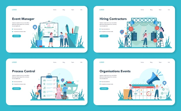 Gestore di eventi o banner web di servizio o set di pagine di destinazione. organizzazione di feste o riunioni. pianificazione di pr company for business. professione moderna creativa.